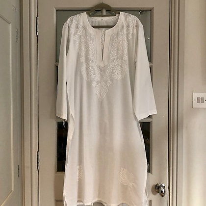 Kaftan Style White Cotton Nightie