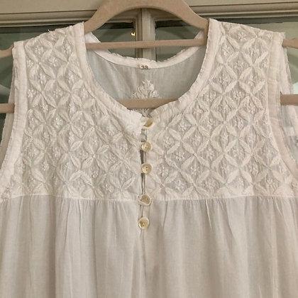 Embroidered Sleeveless Cotton Nightie