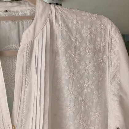 Embroidered Pintuck Cotton Nightie