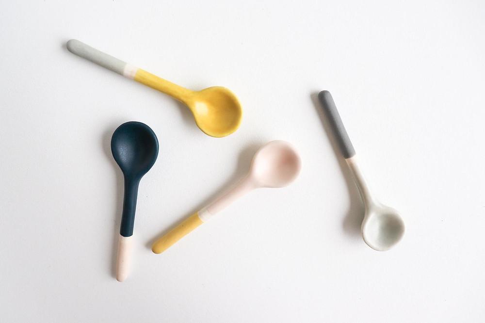 Dipped hand made ceramic spoons by Elizabeth Benotti Ceramics