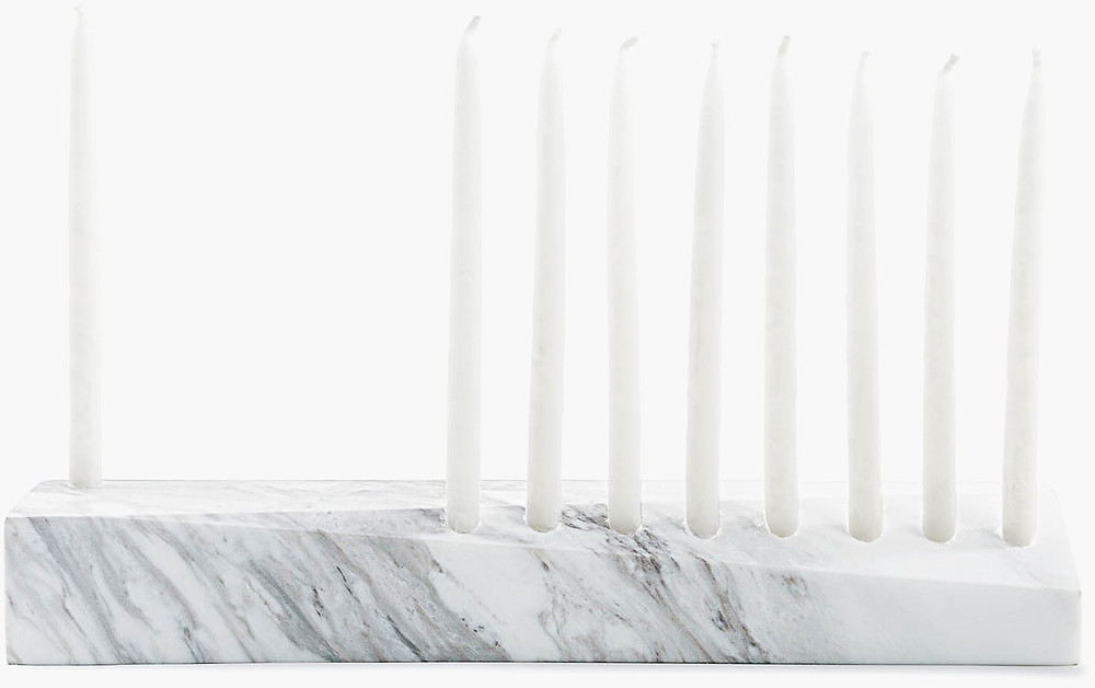 Abstract minimalist marble menorah