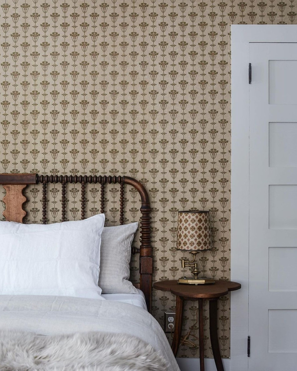 bedroom with wallpaper by Jersey Ice Cream co.