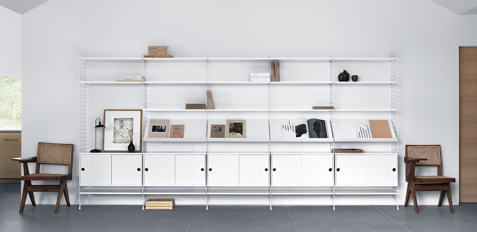 String shelves system Scandinavian design