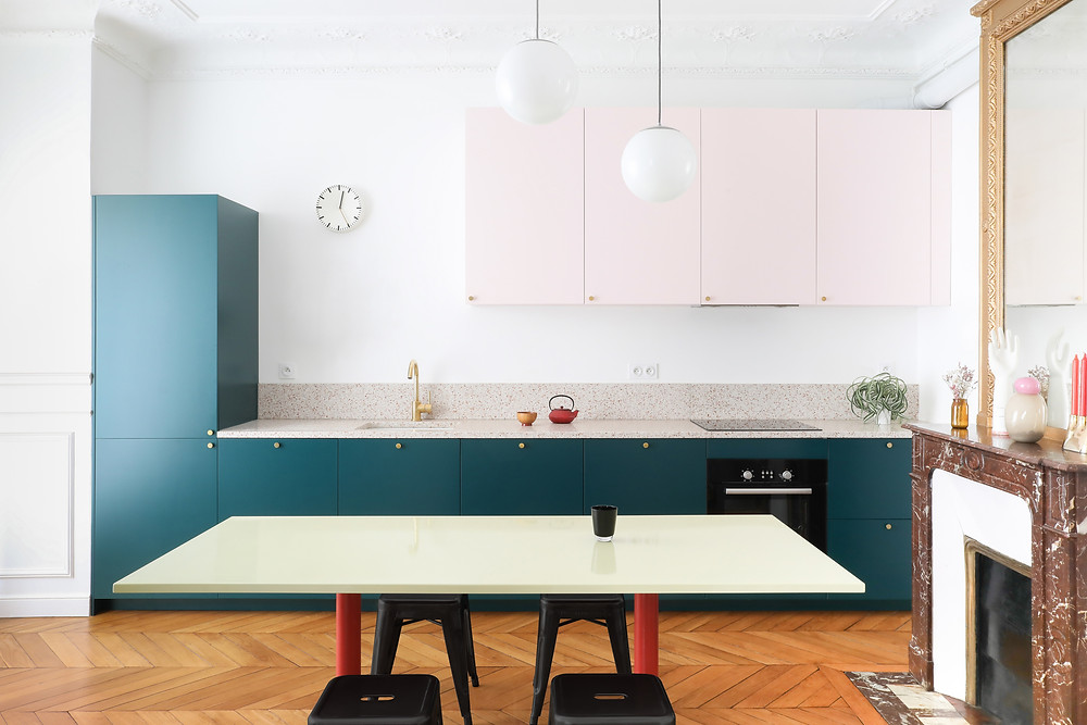color blocked Haussmann paris apartment Heju studio