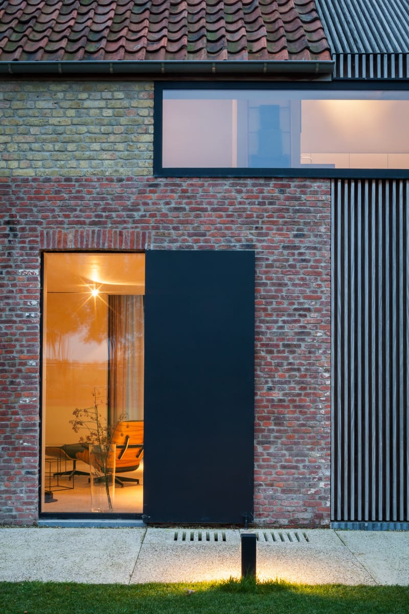 Residence DBB Belgium detail of brick metal and wood