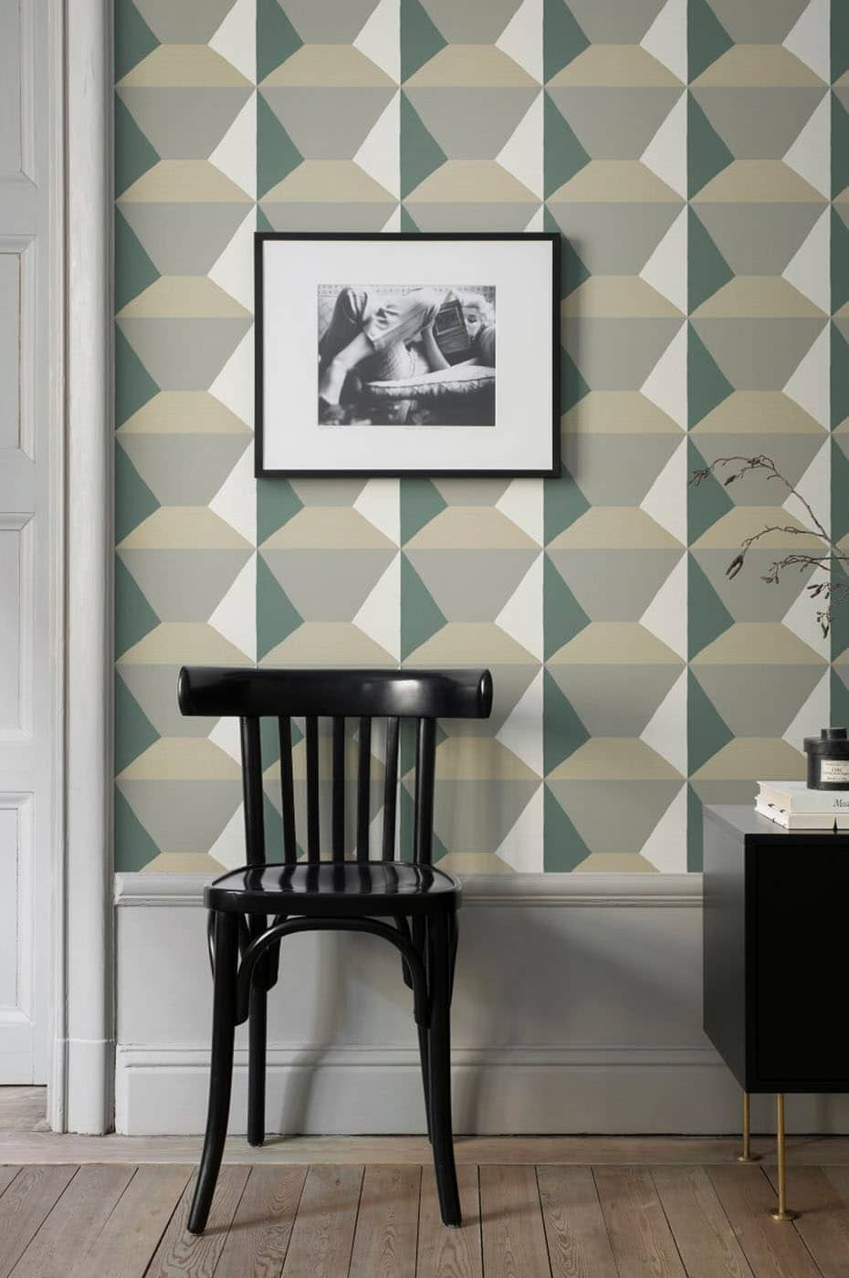 Ilse green geometric wallpaper by Sandberg wallpaper