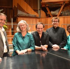 Festival clinician Cristian Grases, festival co-chair Amy Hiestand, Martín Benvenuto, conductor Bruce Lengacher, and festival co-chair Teresa Caldwell
