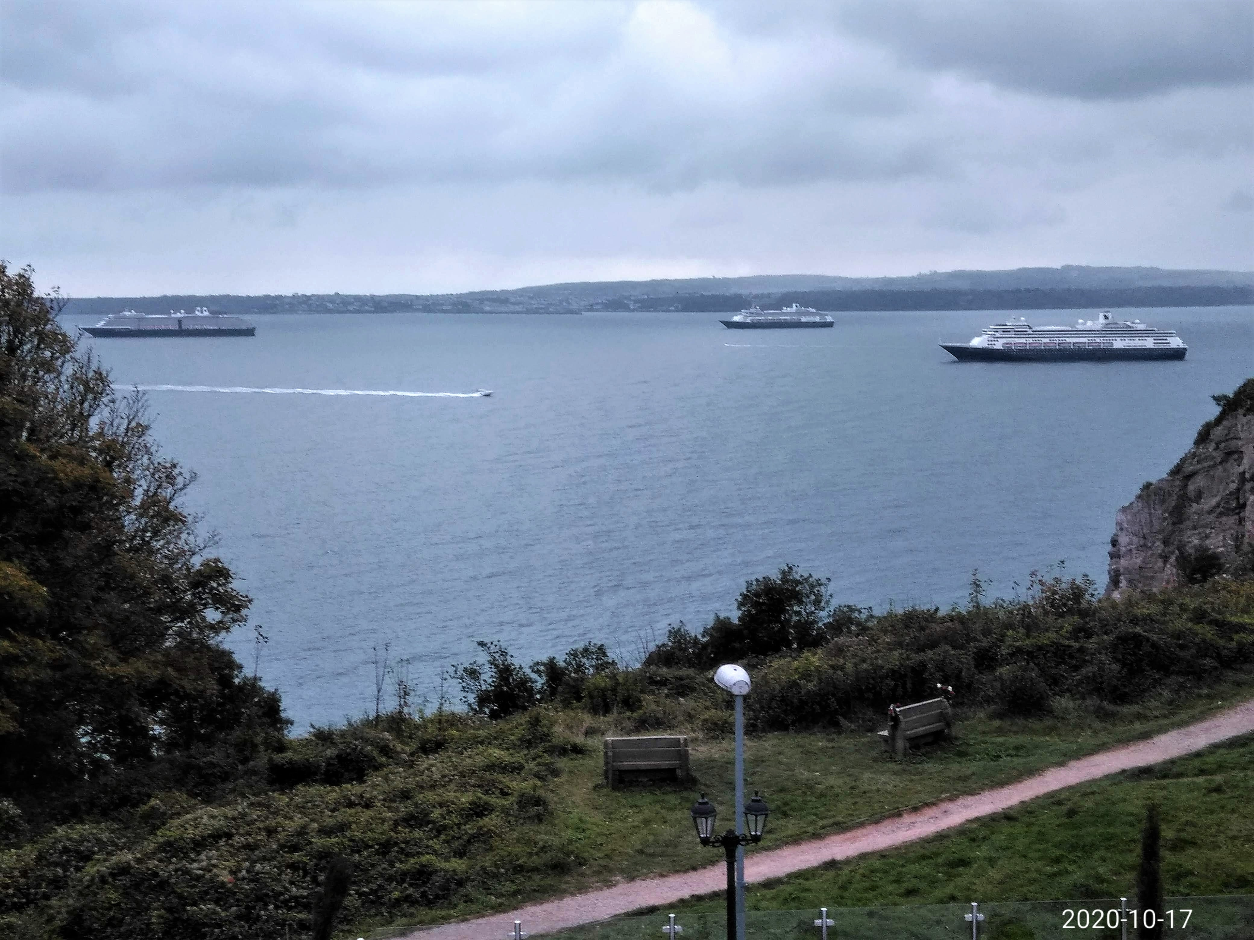 Cruise ships resting in Torbay, October 2020