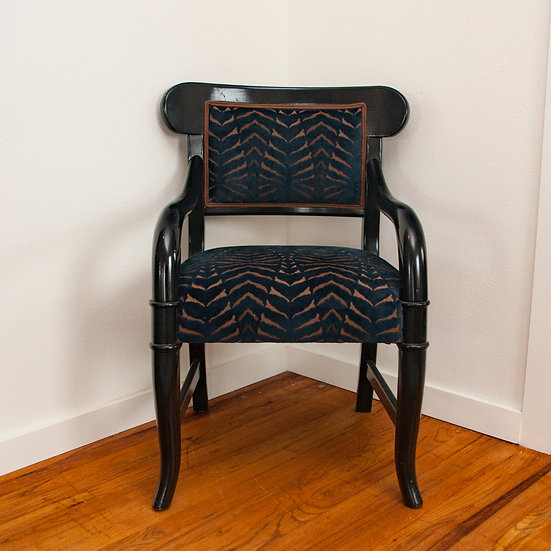 Blue Cut Velvet Armchair