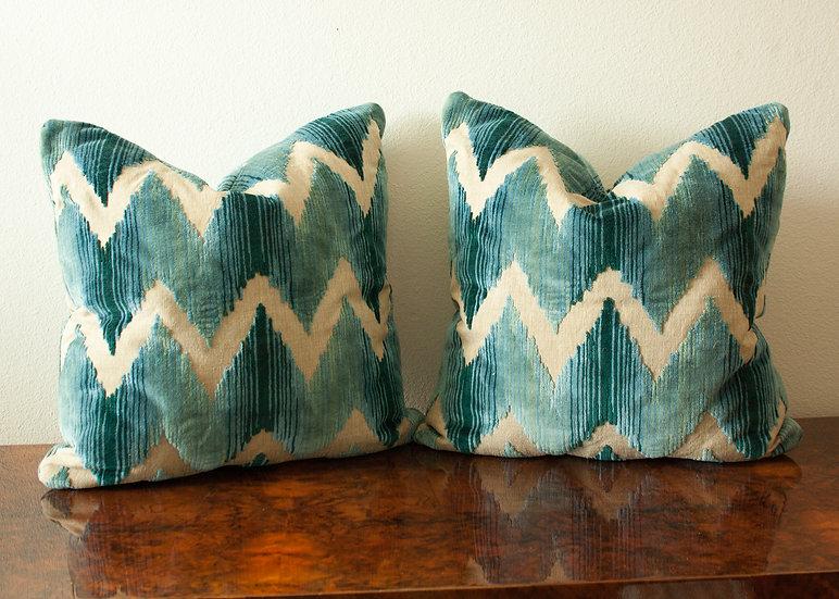 Blue Flame Stitch Pillow