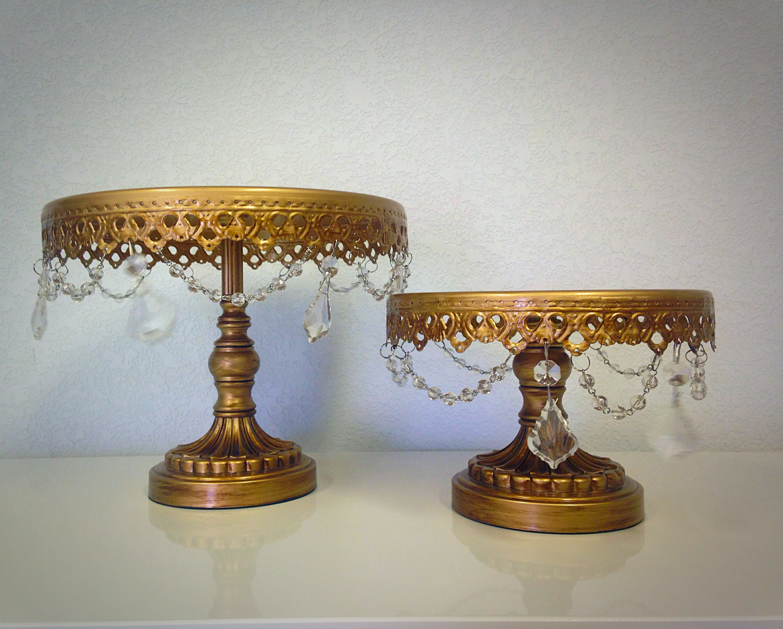 Antique Gold Beaded Dessert Stand