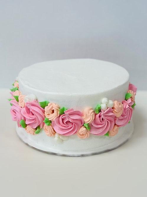 """Pink Velvet Floral Mother's Day 8"""" Cake"""