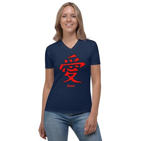 T-shirt à Col en V pour Femme Amour  Bleu