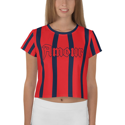 T-shirt Crop-Top imprimé all over Amour Bleu foncé Rouge