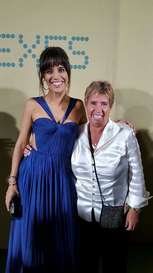 """Natalie Morales and Rosie Casals at the LA Premier of """"Battle of the Sexes."""""""