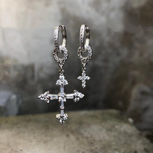 Boucles d'oreilles Croce argent