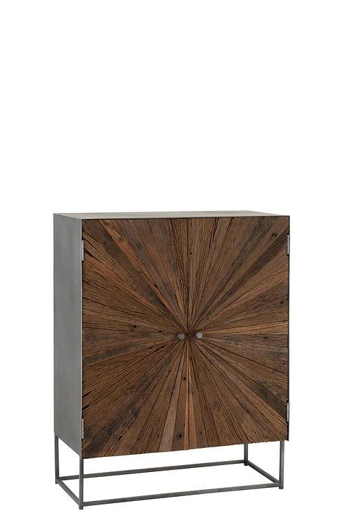 Armoire Shanil 2 Portes Bois/Metal Naturel/Gris