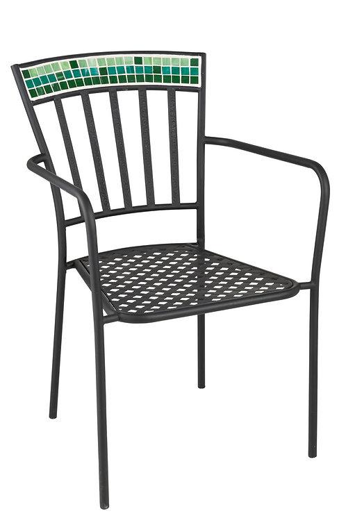 Chaise Mosaiques Carrees Verre/Metal Vert