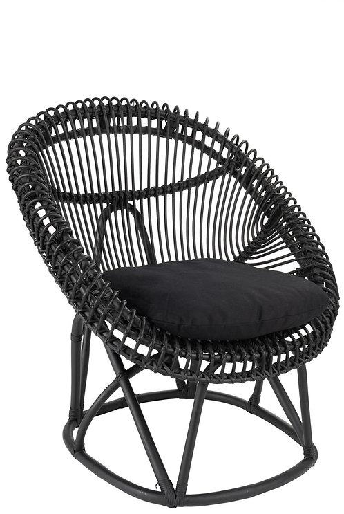 Chaise+Coussin Roco Rotin Noir