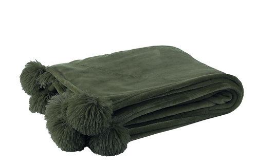 Plaid Pompon Polyester Vert Fonce