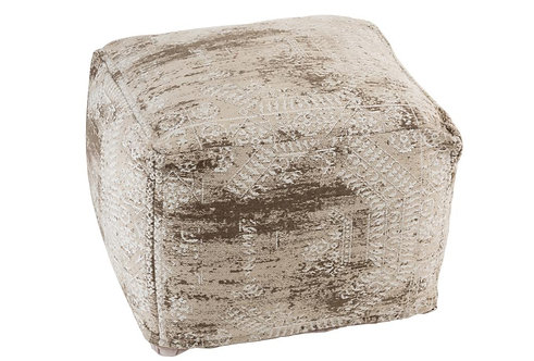 Pouf Imprimes Irregulier Coton Beige/Blanc