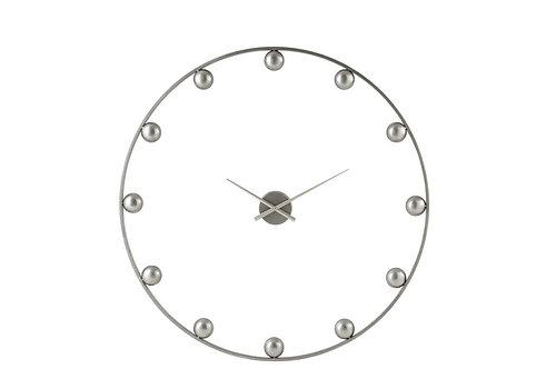 Horloge Murale Boules Metal Gris