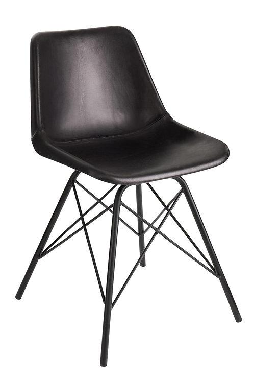Chaise Loft Cuir/Metal Noir