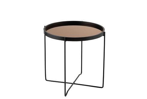 Table Gigogne Miroir Rond Mdf/Metal Noir/Rose Glossy
