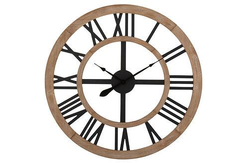 Horloge Rustique Chiffres Romains Mdf Naturel/Noir