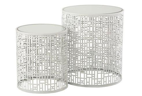 Set De 2 Table Gigogne Motif Metal/Miroir Blanc