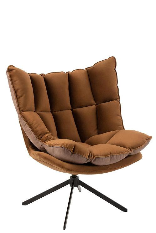 Chaise Relax Coussin Sur Pied Textile/Metal Marron