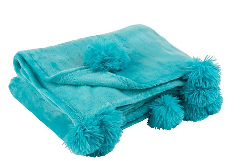 Plaid Pompon Polyester Azur