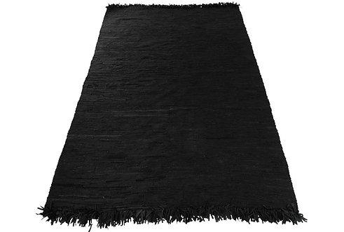 Tapis Crochete Cuir Noir