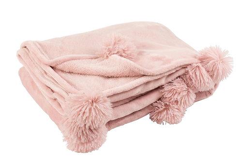 Plaid Pompon Polyester Rose Bébé