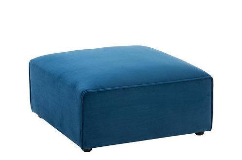 Pouf/Coin Carre Textile/Bois Bleu
