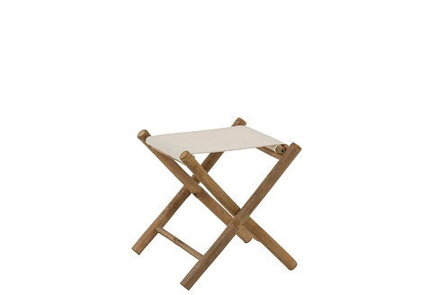 Chaise Pliable Bambou+Textile Naturel/Blanc