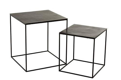 Set De 2 Table Gigogne Carree Oxidize Aluminium/Metal Antique Noir/Vert