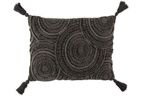Coussin Cercles Coton Rectangulaire Gris Fonce