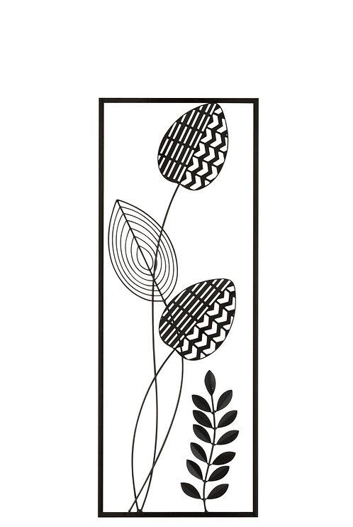 Décoration Murale Plante Feuille Métal Noir