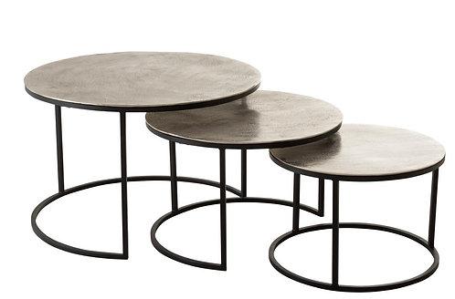 Set De 3 Table Gigogne Ronde Aluminium/Metal Brillant Argent