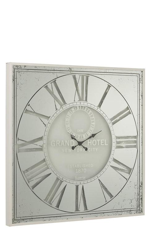 Horloge Carree Chiffres Romains Miroir Metal Blanc