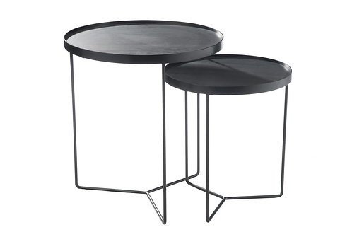 Set De 2 Table Gigogne Ronde Bois Metal Marron Fonce