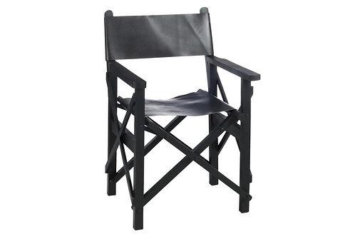 Chaise Regisseur Pliante Bois/Cuir Noir