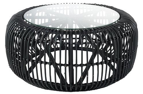 Table Ronde Rotin/Verre Noir Mat