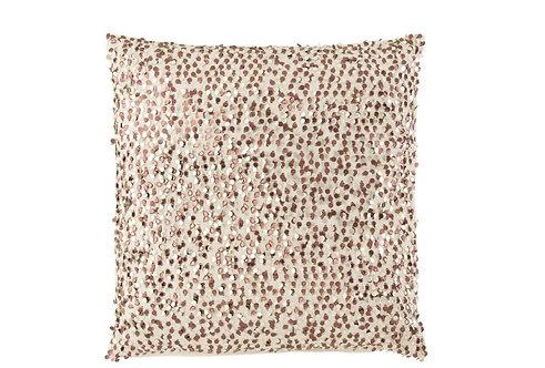 Coussin Paillettes Carre Coton Blanc/Rose