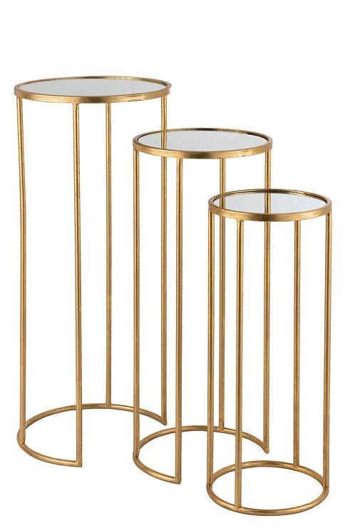 Set De 3 Tables Gigognes Leo Miroir Fer Or