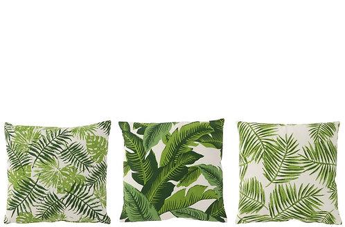 Lot de 3 Coussins Tropical Carre Coton Blanc/Vert