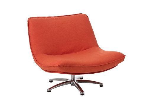 Fauteuil 1 Personne Pivotable Velours Orange Metal Argent