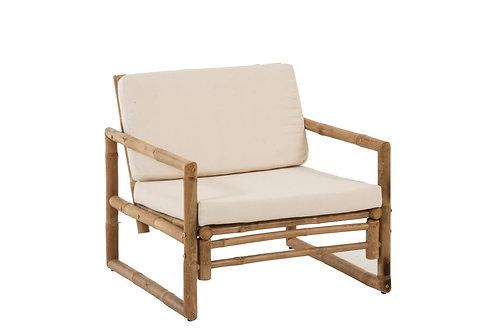Fauteuil 1p Bambou+Textile Naturel/Blanc
