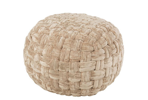 Pouf Crochete Viscose Rond Beige